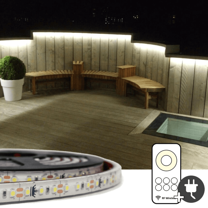18 meter Helder Wit led strip voor buiten complete set