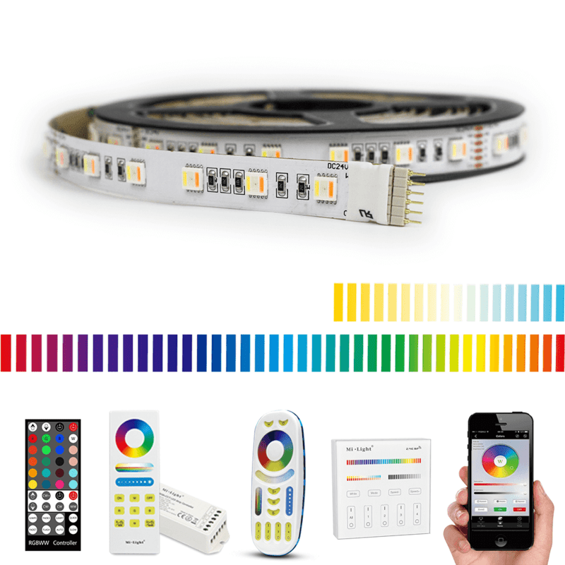 5 meter RGBWW led strip Premium met 300 leds - complete set