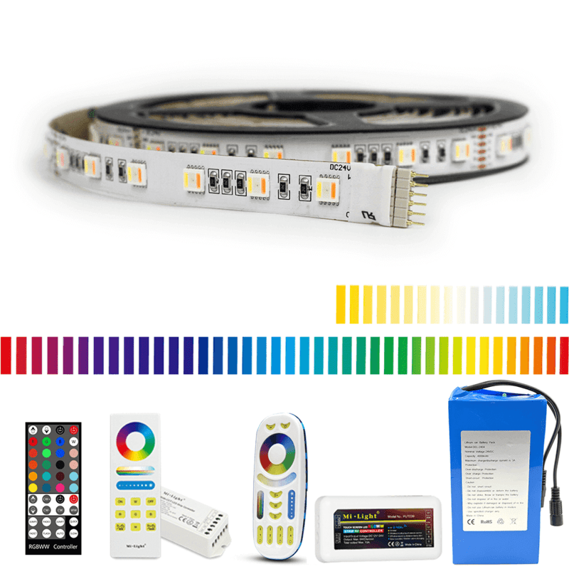 Led strip op batterij RGBWW Premium complete set 5 meter