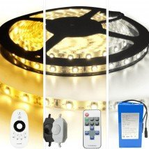 Led strip op batterij Warm wit of Helder wit complete set 4 meter