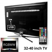 TV backlight set met 1 RGBWW ledstrip voor TV's 32-40 inch