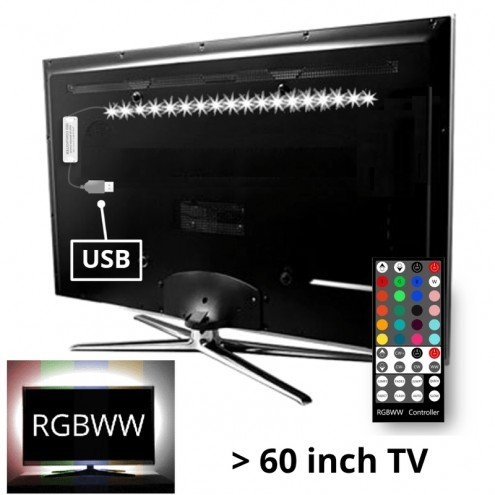 TV backlight set met 1 RGBWW ledstrip voor TV's >60 inch