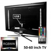 TV backlight set met 2 RGBWW ledstrips voor TV's 50-60 inch