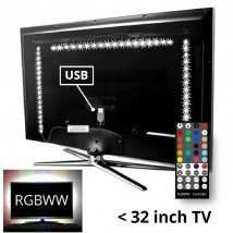 TV backlight set met 3 RGBWW ledstrips voor TV's
