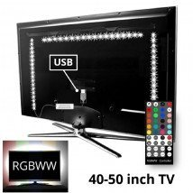TV backlight set met 3 RGBWW ledstrips voor TV's 40-50 inch