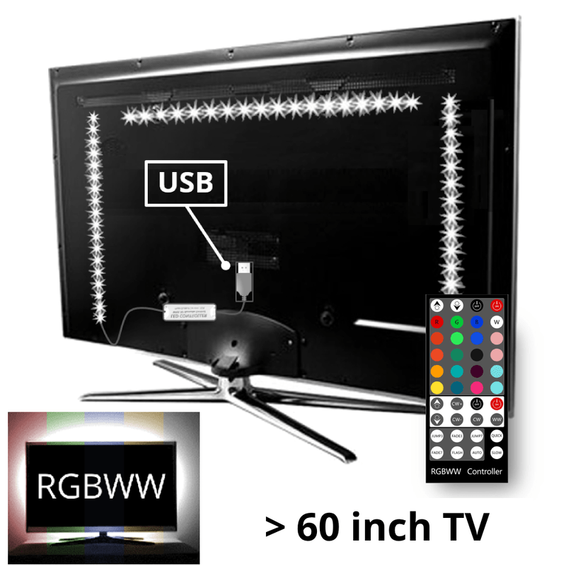 TV backlight set met 3 RGBWW ledstrips voor TV's >60 inch