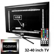 TV backlight set met 4 RGBWW ledstrips voor TV's 32-40 inch