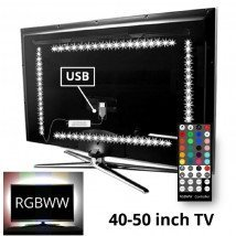 TV backlight set met 4 RGBWW ledstrips voor TV's 40-50 inch