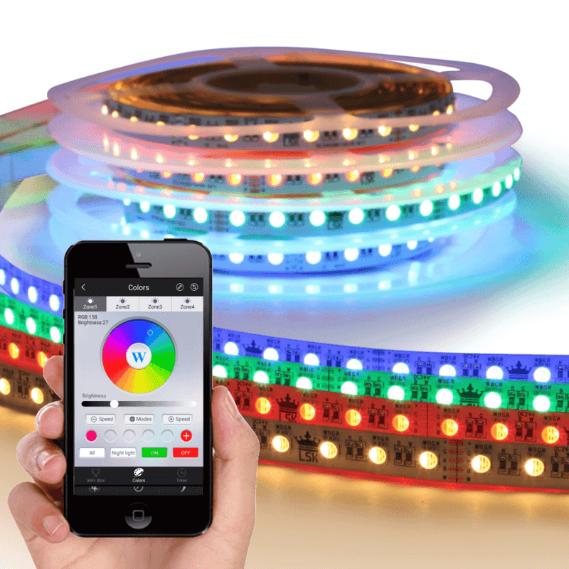 Wifi set met 1 tot 10 meter RGBW led strip Premium