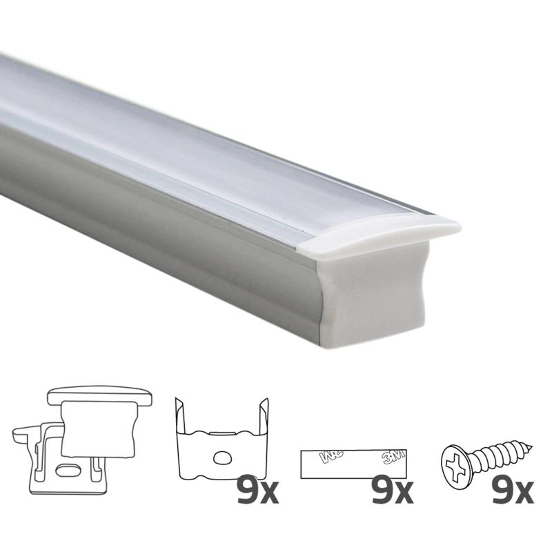 Led strip profiel inbouw Hoog model - compleet met afdekkap 15 mm hoog