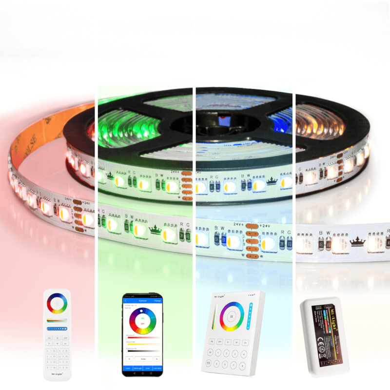 25 meter RGBW led strip complete set - Pro 96 leds per meter - Multicolor met Helder wit