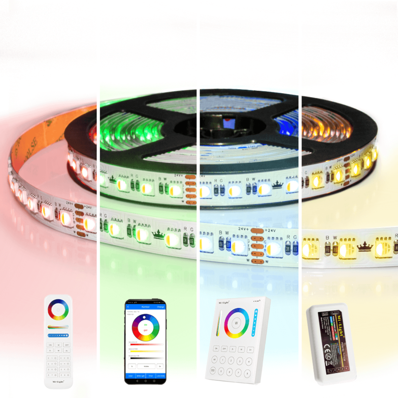 45 meter RGBW led strip complete set - Pro 96 leds per meter - Multicolor met Warm wit