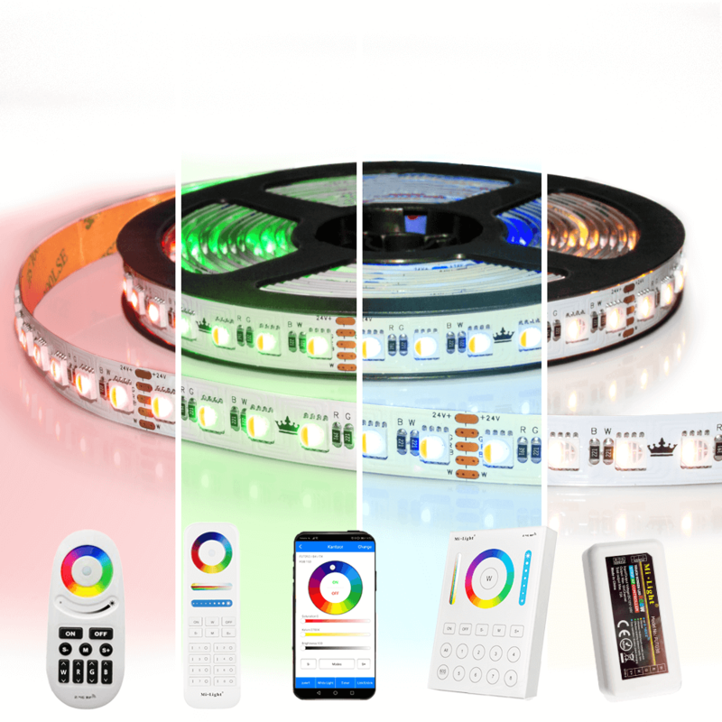 5 meter RGBW led strip complete set - Pro 96 leds per meter - Multicolor met Helder wit