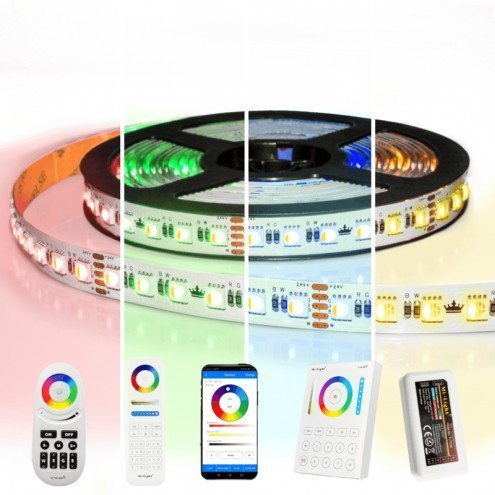 8 meter RGBW led strip complete set - Pro 96 leds per meter - Multicolor met Warm wit