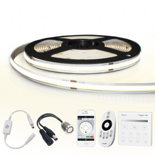 1 meter Helder Wit led strip COB met 384 leds per meter - complete set