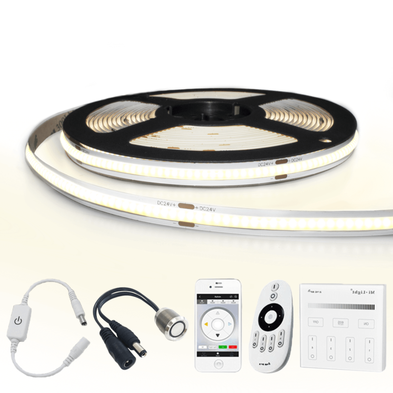 6 meter Helder Wit led strip COB met 384 leds per meter - complete set