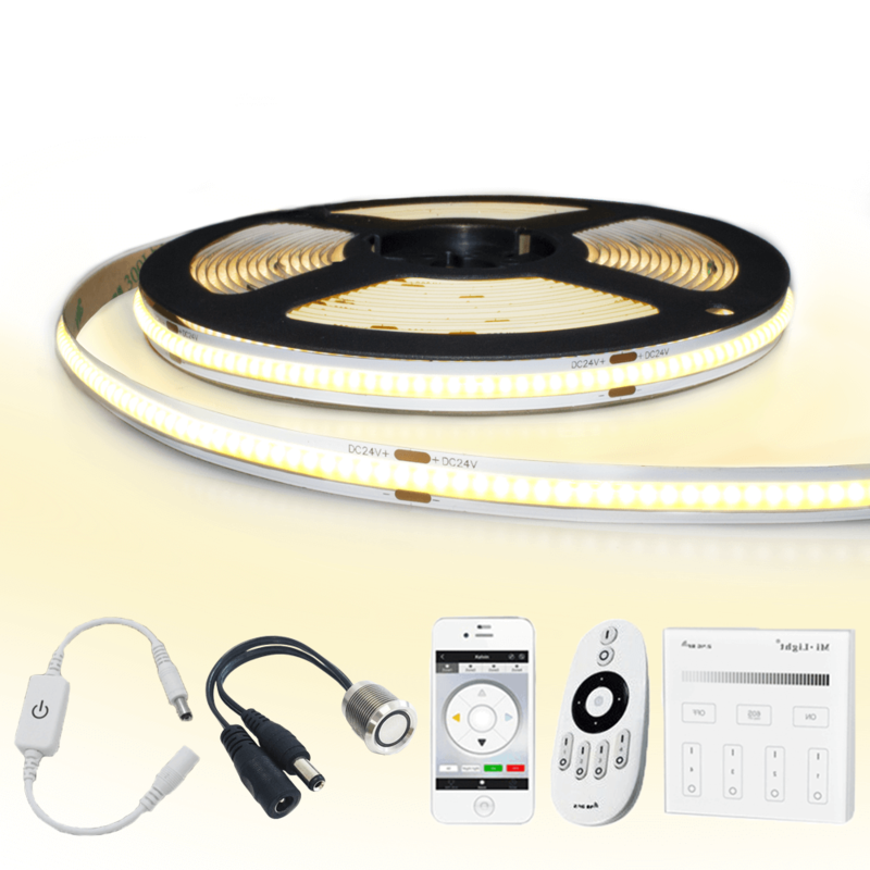 6 meter Warm Wit led strip COB met 384 leds per meter - complete set