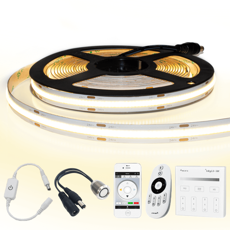 3 meter Warm Wit led strip COB met 504 leds per meter - complete set
