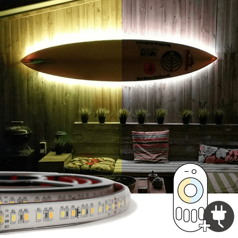 8 meter Dual White led strip voor buiten complete set