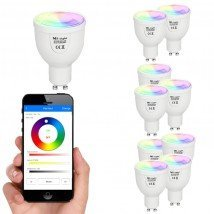 Wifi set met 1 tot 4 RGBW Led spots 5W GU10 fitting
